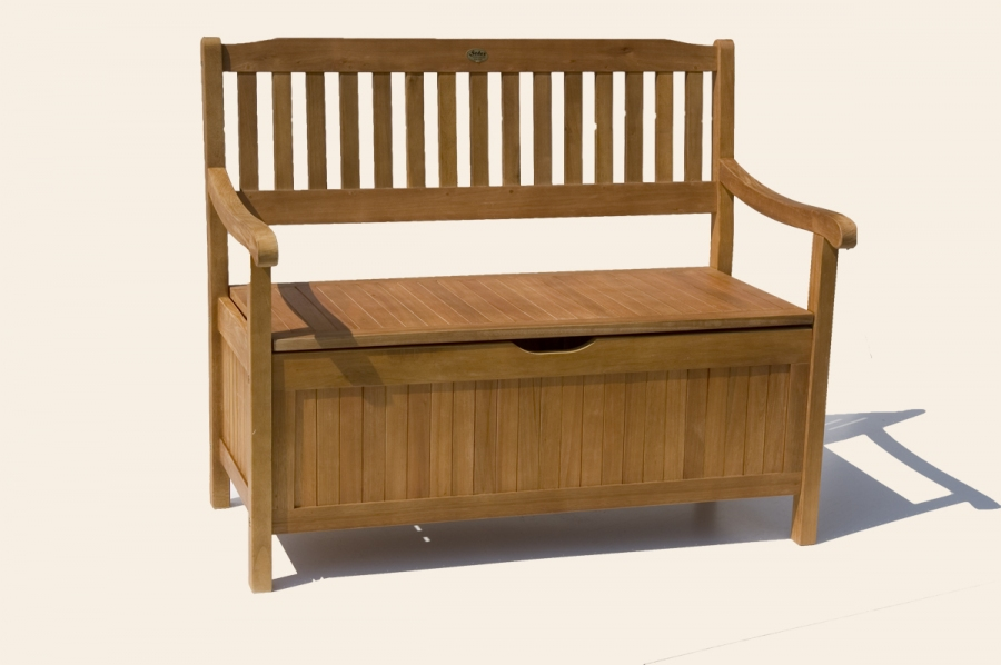 greena massiv garten bank holz 2 sitzer truhenbank ebay. Black Bedroom Furniture Sets. Home Design Ideas