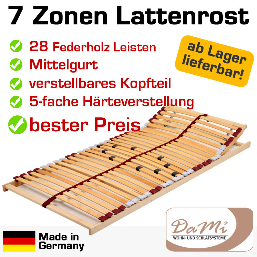 7 zonen buche lattenrost 28 leisten 90x200 basic kopf ebay. Black Bedroom Furniture Sets. Home Design Ideas