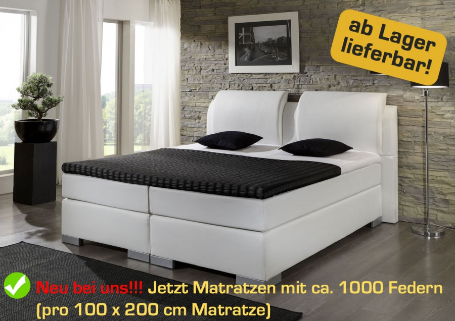Boxspringbett Komfortbett Hotelbett 140, 160, 180, 200 x 200 cm