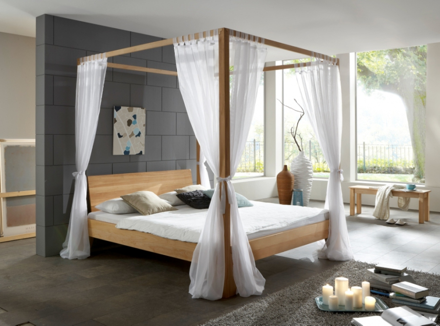 himmelbett stella buche massiv bett doppelbett holzbett. Black Bedroom Furniture Sets. Home Design Ideas