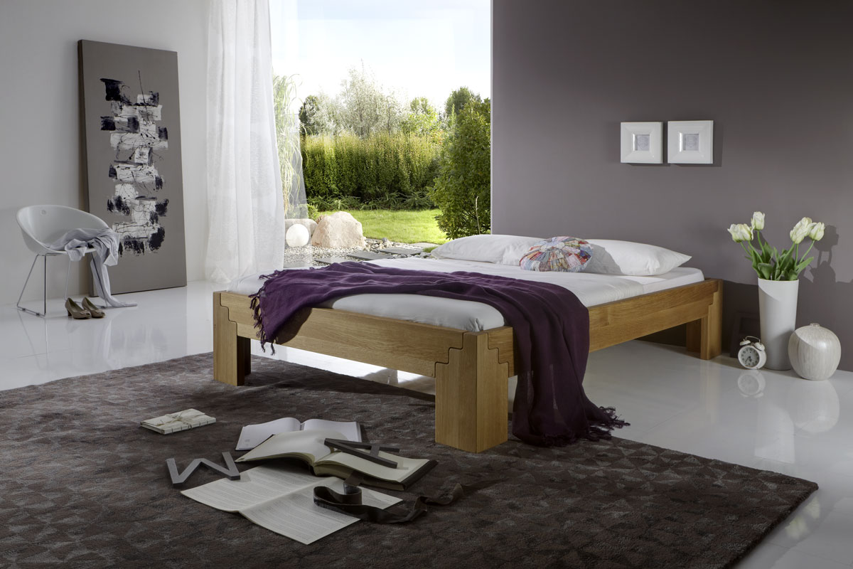 bett stella eiche massiv metallfreies stecksystem. Black Bedroom Furniture Sets. Home Design Ideas