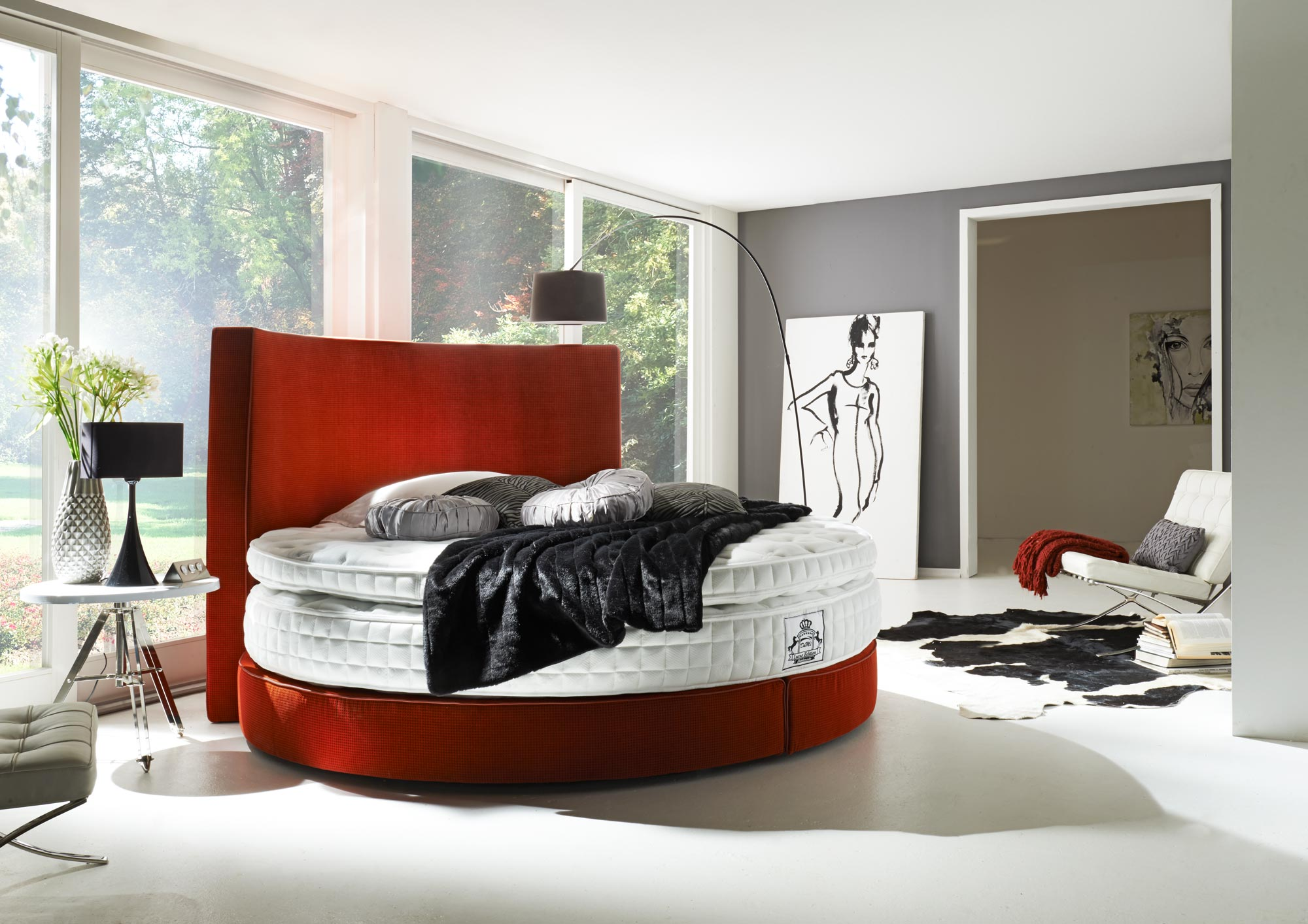 boxspringbett rondo liegefl che rund 225 cm in vielen farben. Black Bedroom Furniture Sets. Home Design Ideas