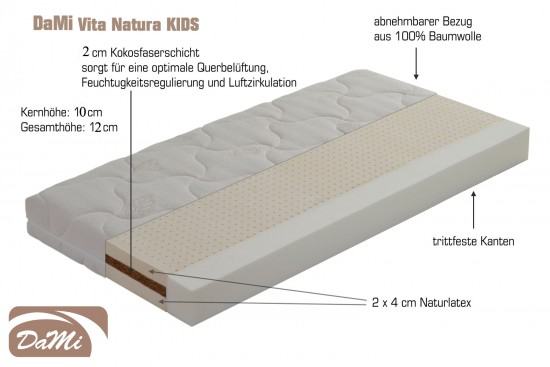 naturlatex kokos matratze dami vita natura kids. Black Bedroom Furniture Sets. Home Design Ideas
