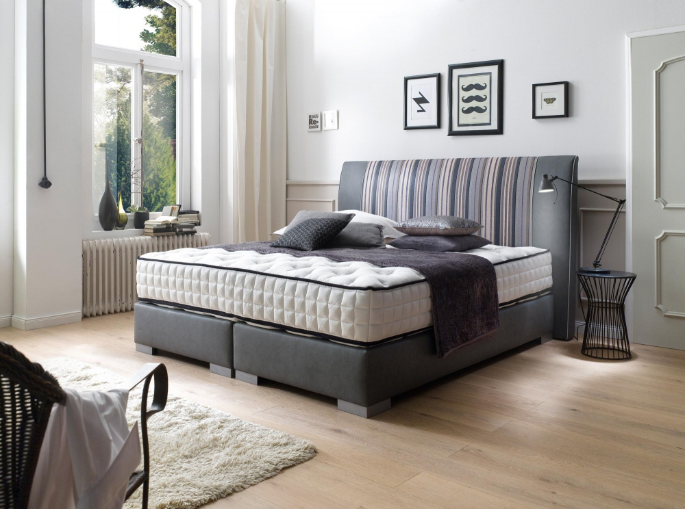 boxspringbett alano mittig mit joop stoff bezogen 180x200 cm ebay. Black Bedroom Furniture Sets. Home Design Ideas
